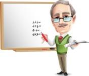 Elderly Teacher with Moustache Cartoon Character - Writing on whiteboard