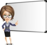 Female Teacher Cartoon Vector Character - Making a Presentation on a Blank white board
