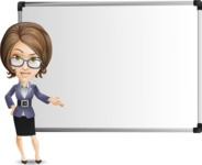 Female Teacher Cartoon Vector Character - Showing on Big whiteboard