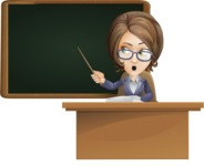 Female Teacher Cartoon Vector Character - Pointing on blackboard while sitting at desk