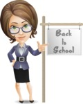 Female Teacher Cartoon Vector Character - with Back to school sign