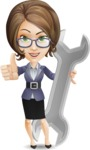 Female Teacher Cartoon Vector Character - with Repairing tool wrench