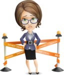 Female Teacher Cartoon Vector Character - with Under Construction sign