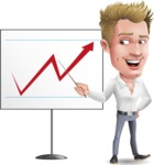 Blond Businessman Cartoon Vector Character - Pointing on a Blank whiteboard