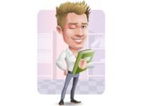 Blond Businessman Cartoon Vector Character - Shape6