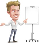 Blond Businessman Cartoon Vector Character - with a Blank Presentation board