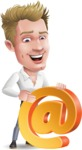 Blond Businessman Cartoon Vector Character - with Email sign