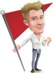 Blond Businessman Cartoon Vector Character - with Flag