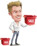 Blond Businessman Cartoon Vector Character - with Sale boxes