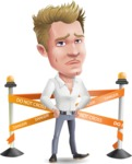 Blond Businessman Cartoon Vector Character - with Under Construction sign