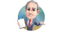 Mature Businessman Cartoon Vector Character - Shape2