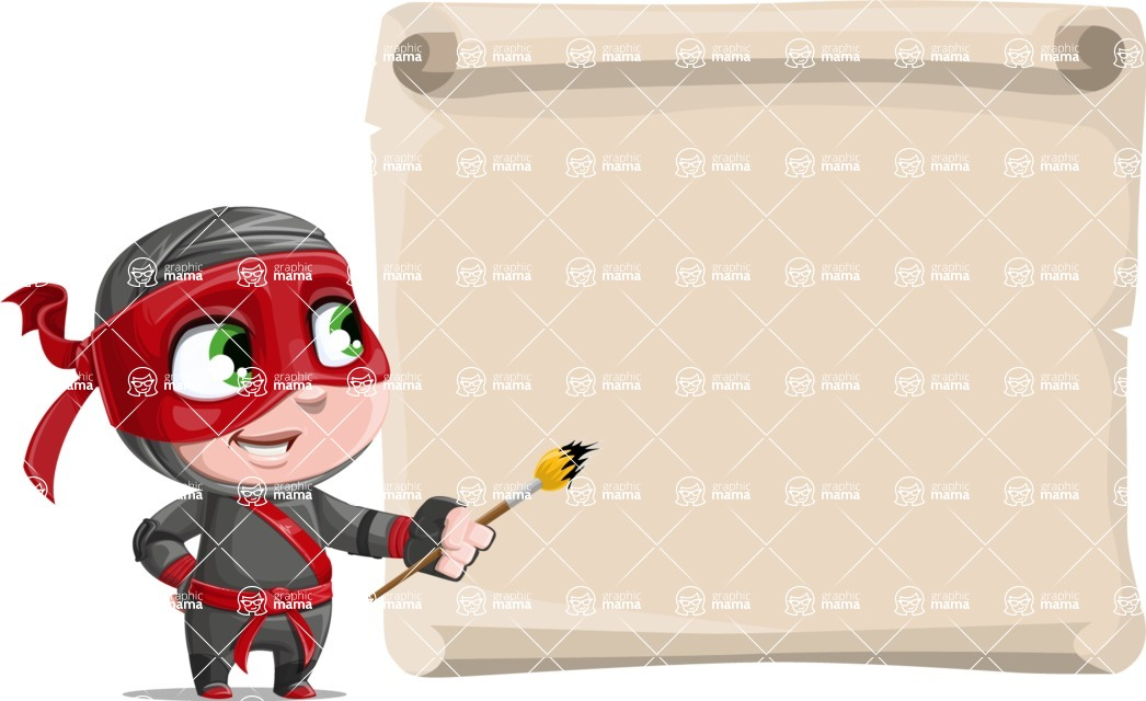Little Ninja Kid Cartoon Vector Character AKA Shinobi The Curious Boy - Presentation 7