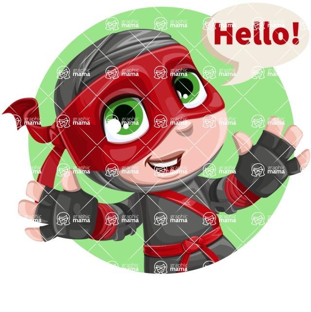 Little Ninja Kid Cartoon Vector Character AKA Shinobi The Curious Boy - Shape 1