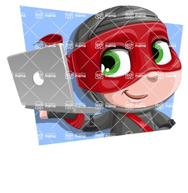 Little Ninja Kid Cartoon Vector Character AKA Shinobi The Curious Boy - Shape 2