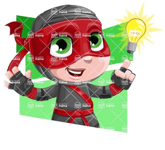 Little Ninja Kid Cartoon Vector Character AKA Shinobi The Curious Boy - Shape 4