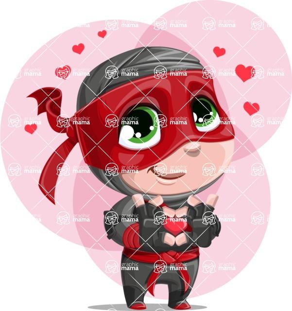 Little Ninja Kid Cartoon Vector Character AKA Shinobi The Curious Boy - Shape 5