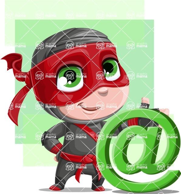 Little Ninja Kid Cartoon Vector Character AKA Shinobi The Curious Boy - Shape 7