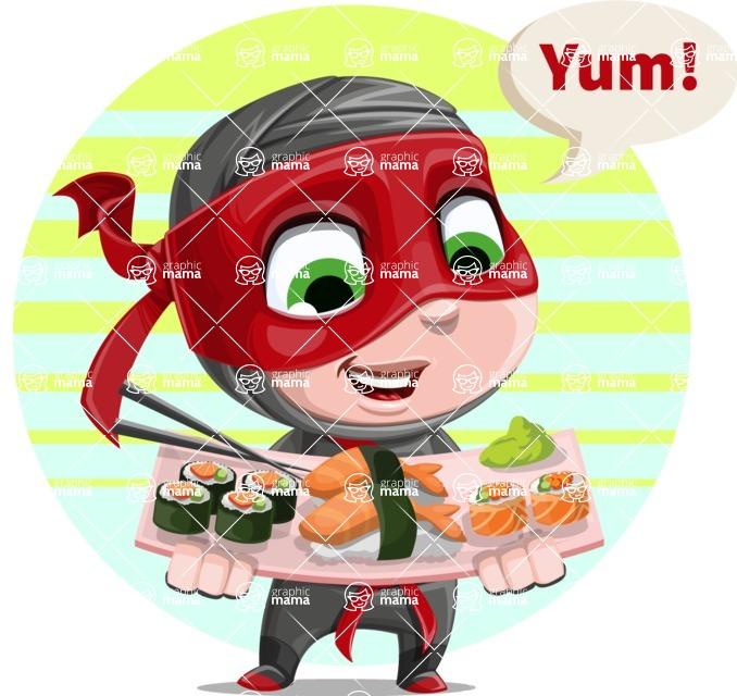 Little Ninja Kid Cartoon Vector Character AKA Shinobi The Curious Boy - Shape 8