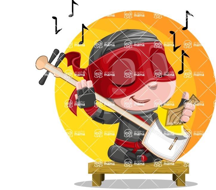 Little Ninja Kid Cartoon Vector Character AKA Shinobi The Curious Boy - Shape 9