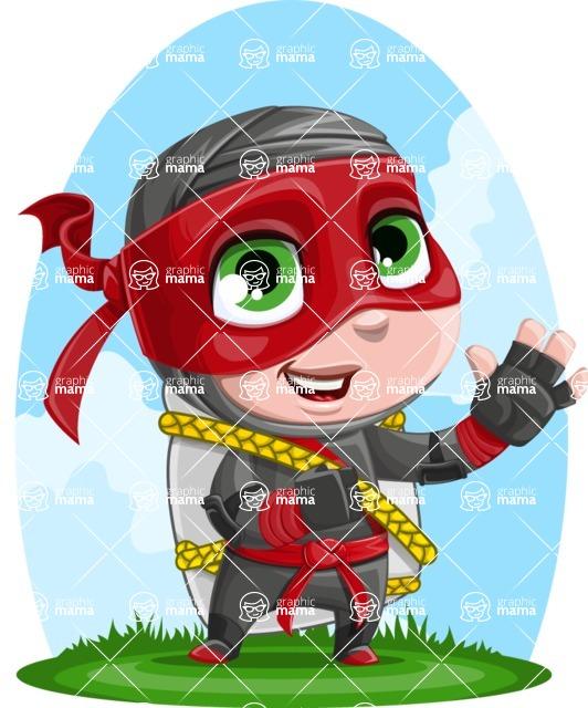 Little Ninja Kid Cartoon Vector Character AKA Shinobi The Curious Boy - Shape 10