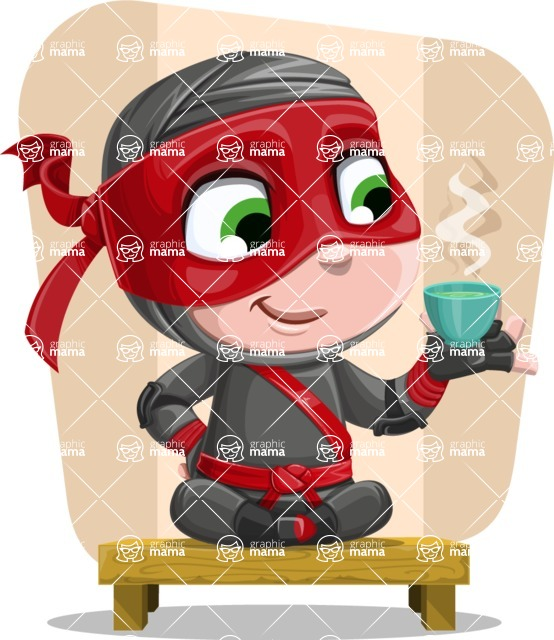 Little Ninja Kid Cartoon Vector Character AKA Shinobi The Curious Boy - Shape 11