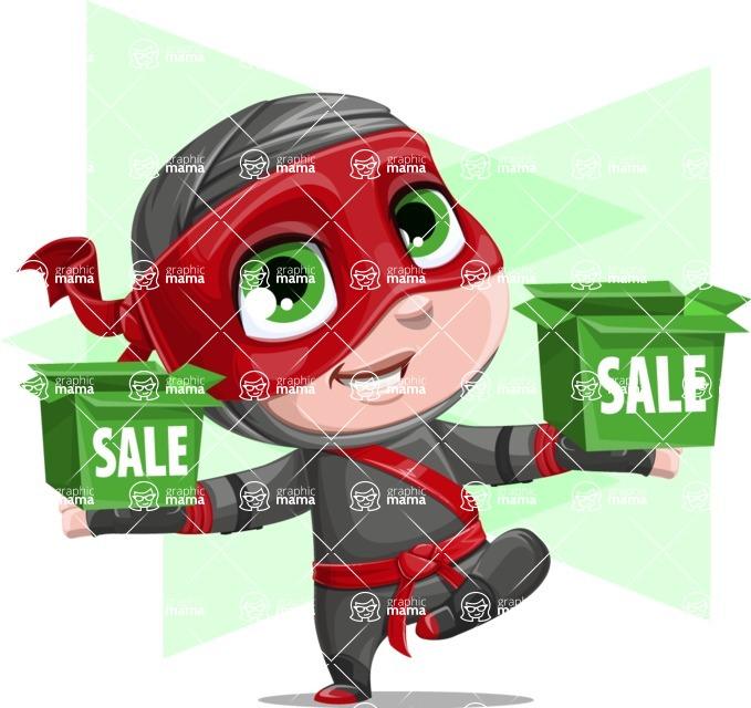 Little Ninja Kid Cartoon Vector Character AKA Shinobi The Curious Boy - Shape 12