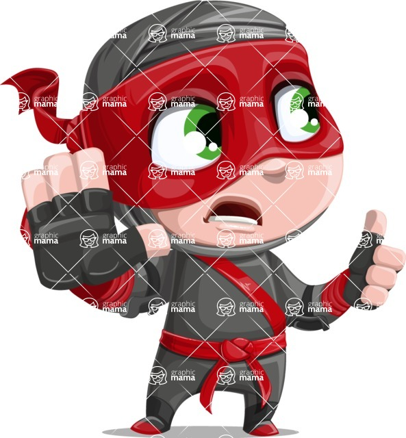 Little Ninja Kid Cartoon Vector Character AKA Shinobi The Curious Boy - Direct Attention 2