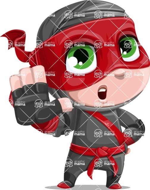 Little Ninja Kid Cartoon Vector Character AKA Shinobi The Curious Boy - Stop 2