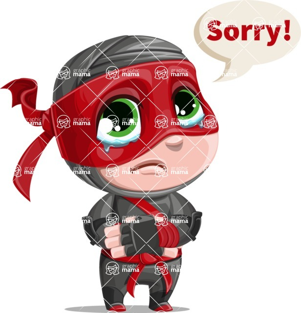 Little Ninja Kid Cartoon Vector Character AKA Shinobi The Curious Boy - Sad 2