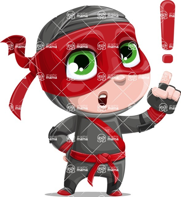 Little Ninja Kid Cartoon Vector Character AKA Shinobi The Curious Boy - Attention