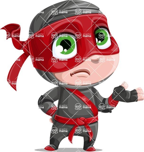 Little Ninja Kid Cartoon Vector Character AKA Shinobi The Curious Boy - Lost 1