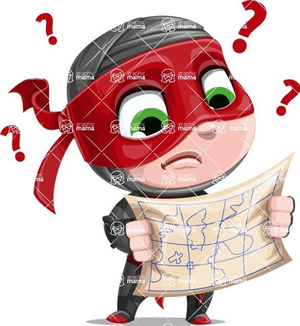 Little Ninja Kid Cartoon Vector Character AKA Shinobi The Curious Boy - Lost 2
