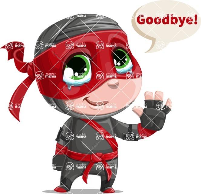 Little Ninja Kid Cartoon Vector Character AKA Shinobi The Curious Boy - Goodbye