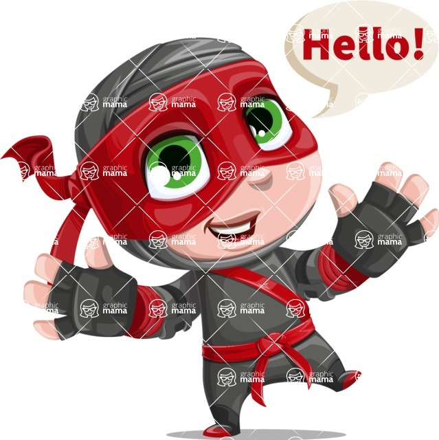 Little Ninja Kid Cartoon Vector Character AKA Shinobi The Curious Boy - Hello