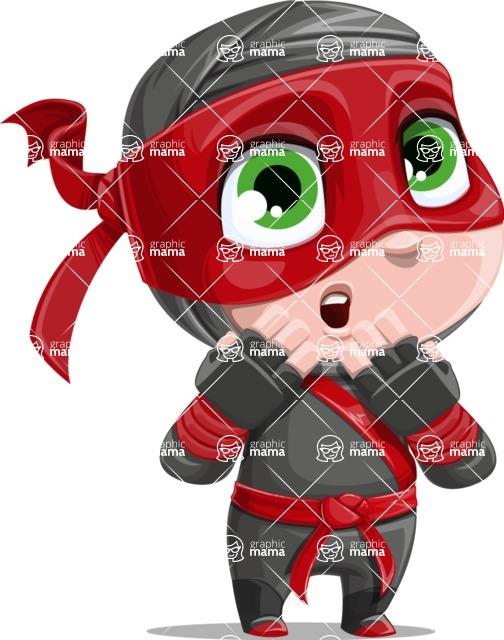 Little Ninja Kid Cartoon Vector Character AKA Shinobi The Curious Boy - Oops