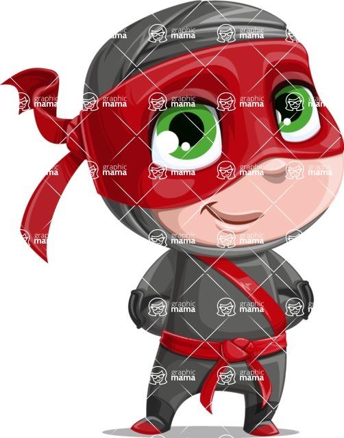 Little Ninja Kid Cartoon Vector Character AKA Shinobi The Curious Boy - Patient