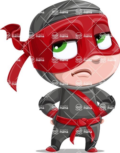 Little Ninja Kid Cartoon Vector Character AKA Shinobi The Curious Boy - Bored 1