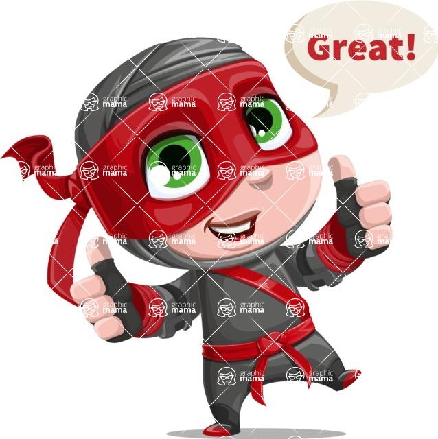 Little Ninja Kid Cartoon Vector Character AKA Shinobi The Curious Boy - Thumbs Up