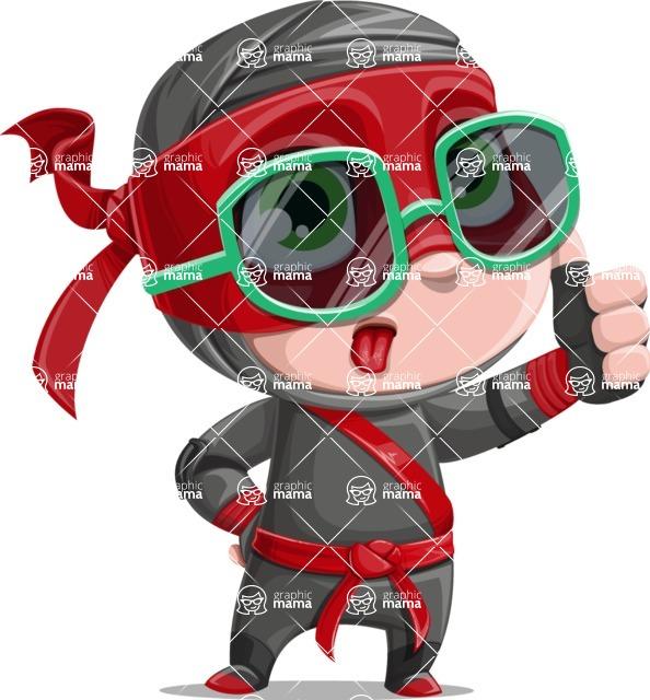 Little Ninja Kid Cartoon Vector Character AKA Shinobi The Curious Boy - Sunglasses 2