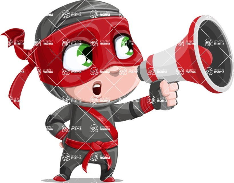 Little Ninja Kid Cartoon Vector Character AKA Shinobi The Curious Boy - Loudspeaker