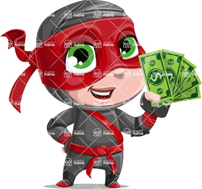 Little Ninja Kid Cartoon Vector Character AKA Shinobi The Curious Boy - Show me the Money