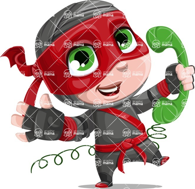 Little Ninja Kid Cartoon Vector Character AKA Shinobi The Curious Boy - Support 2