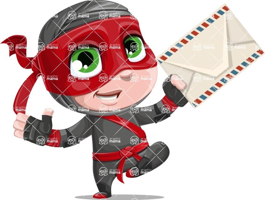 Little Ninja Kid Cartoon Vector Character AKA Shinobi The Curious Boy - Letter