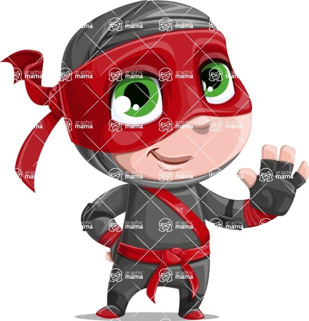 Little Ninja Kid Cartoon Vector Character AKA Shinobi The Curious Boy - Wave