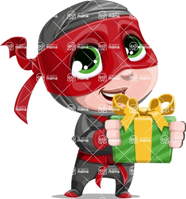 Little Ninja Kid Cartoon Vector Character AKA Shinobi The Curious Boy - Gift