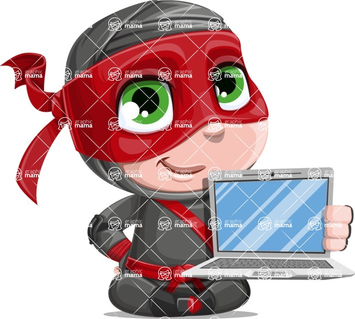Little Ninja Kid Cartoon Vector Character AKA Shinobi The Curious Boy - Laptop 1