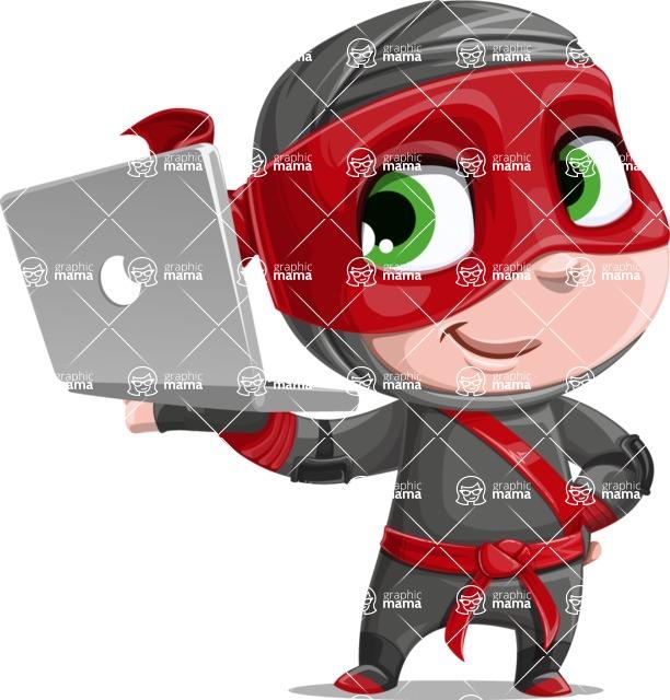 Little Ninja Kid Cartoon Vector Character AKA Shinobi The Curious Boy - Laptop 2