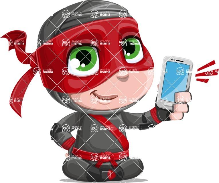 Little Ninja Kid Cartoon Vector Character AKA Shinobi The Curious Boy - Smartphone2