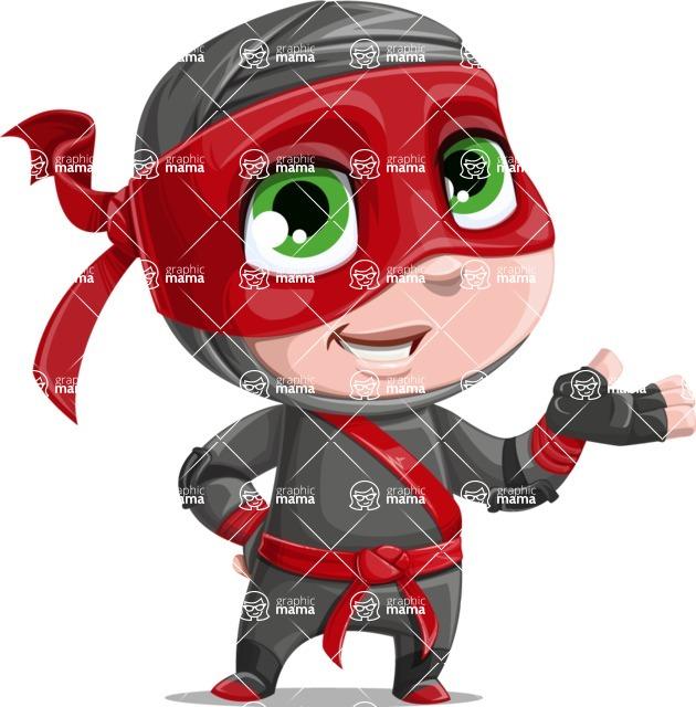 Little Ninja Kid Cartoon Vector Character AKA Shinobi The Curious Boy - Showcase 1