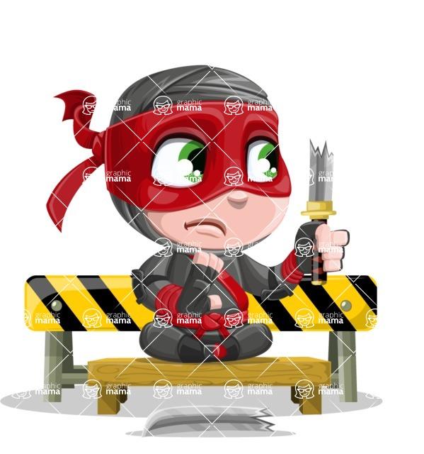 Little Ninja Kid Cartoon Vector Character AKA Shinobi The Curious Boy - Under Construction 2